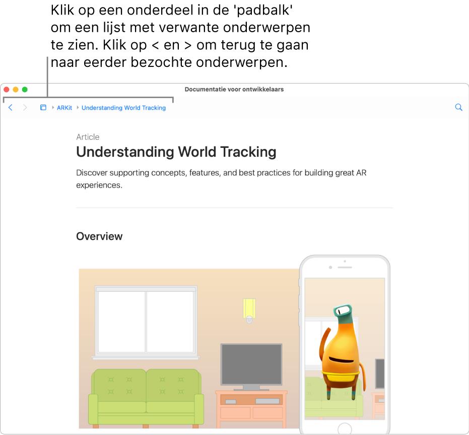 """Een pagina uit een artikel over ARKit van de Apple Developer-website. Bovenaan de pagina staat de """"padbalk"""" met de stappen waarmee je door de documentatie bladert. Klik op een element in de balk voor een lijst met verwante onderwerpen waar je naartoe kunt springen."""