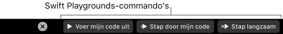 De TouchBar met knoppen van de app SwiftPlaygrounds; van links naar rechts zijn dat 'Voer mijn code uit', 'Stap door mijn code' en 'Stap langzaam'.