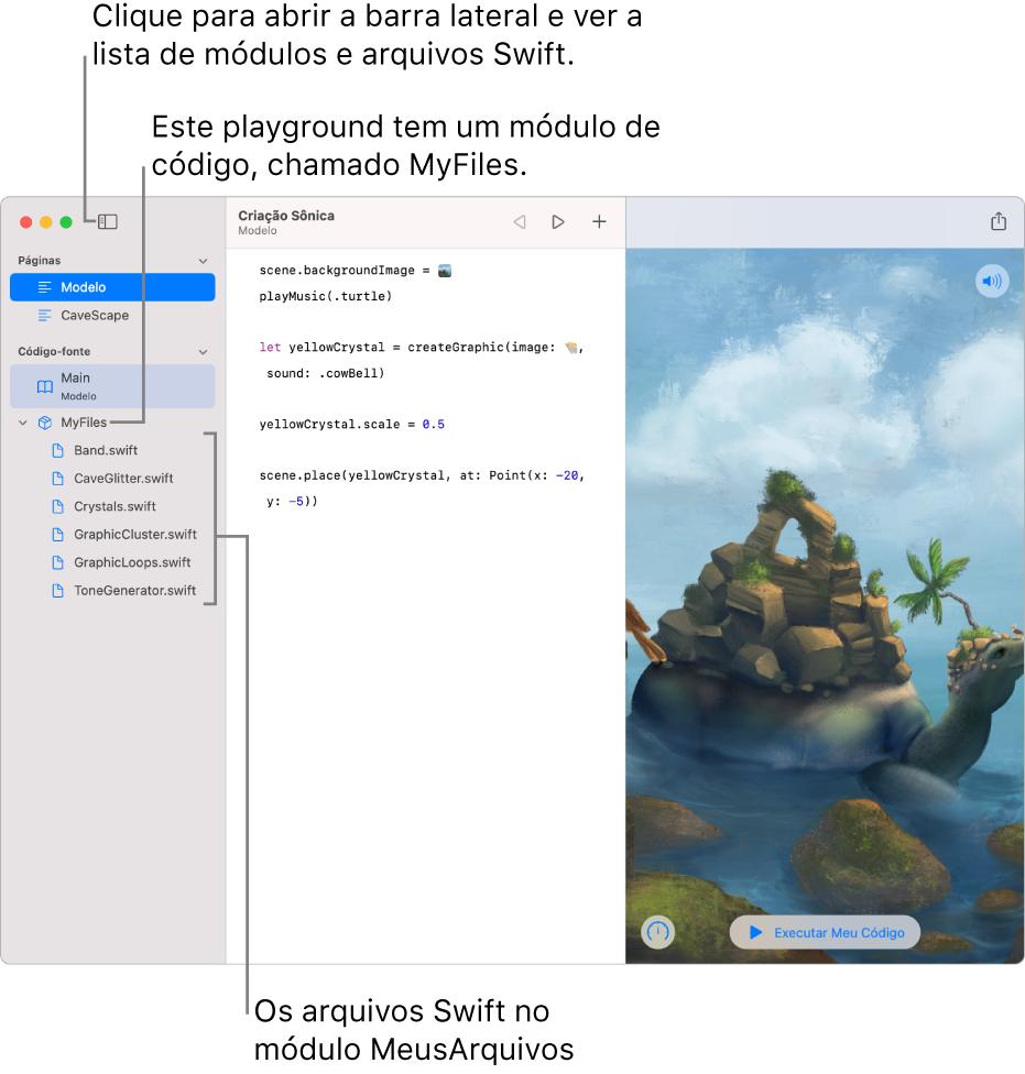 Página de um playground com a barra lateral e a lista de módulos aberta, mostrando que o playground tem um módulo de código chamado MyFiles, com seis arquivos Swift nele.