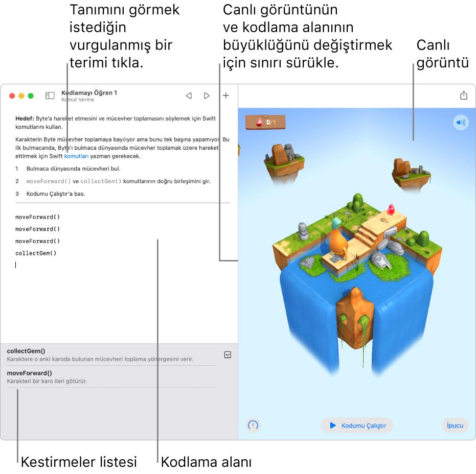 Sol tarafta kod girme alanı ve sağ tarafta canlı sonuç görüntüsüyle bir oyun alanı. Tanımını almak istediğin vurgulanmış bir metni tıklayabilir ve kestirmeler listesindeki (kodlama alanının altında) kod önerilerini tıklayarak koduna girebilirsin.