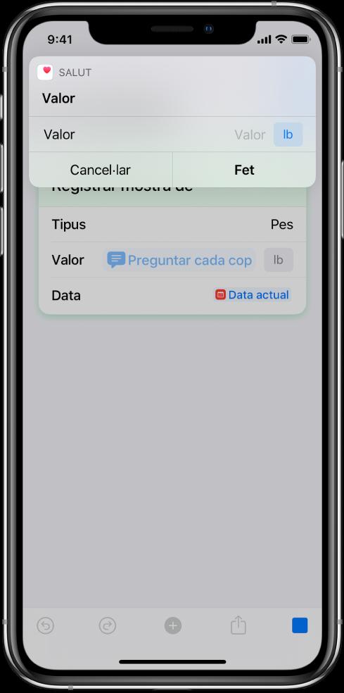 """Variable """"Preguntar cada vegada"""" posant en pausa la drecera per sol·licitar dades que s'han d'introduir manualment."""