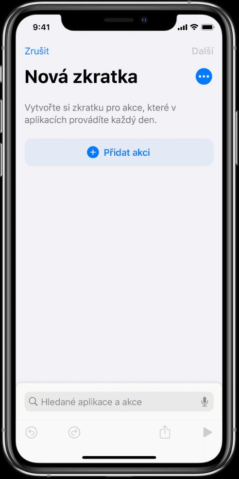 Prázdný editor zkratek na iPhonu