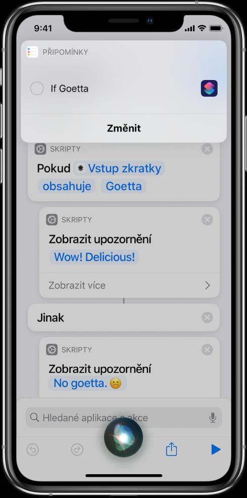 Obrazovka Siri se znázorněným přidáním zkratky do vašich připomínek