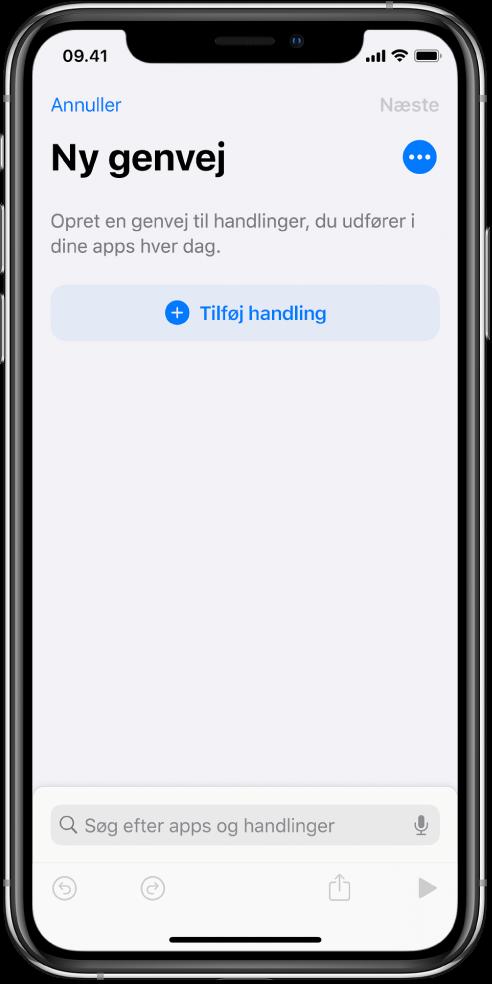 Tomt redigeringsværktøj til genveje på en iPhone.