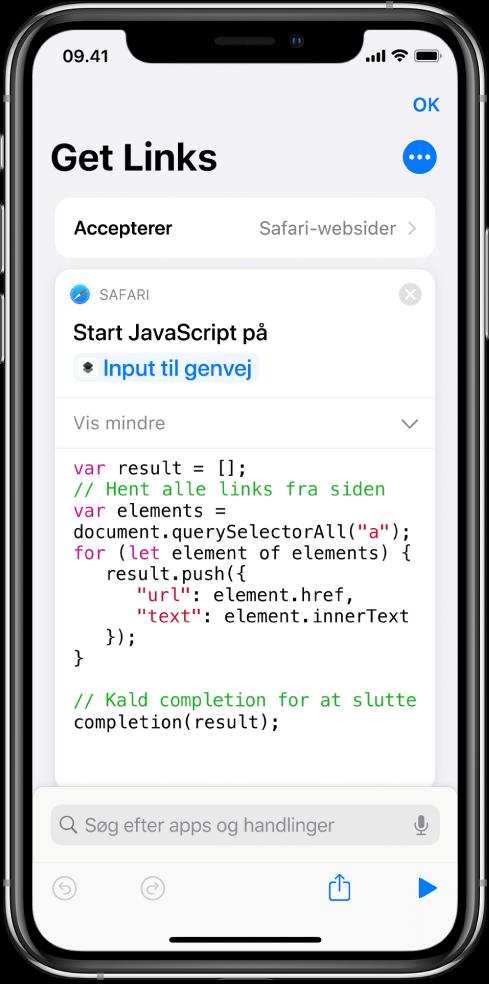Handlingen Start JavaScript på webside i redigeringsværktøjet til genveje.