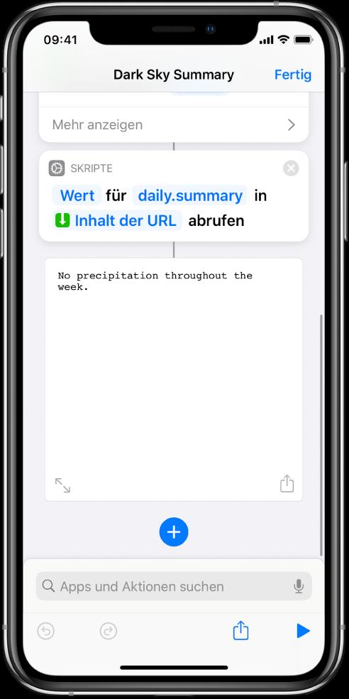 """Kurzbefehleditor mit der Aktion """"Wörterbuchwert abrufen"""" und dem auf """"summary"""" eingestellten Schlüssel."""