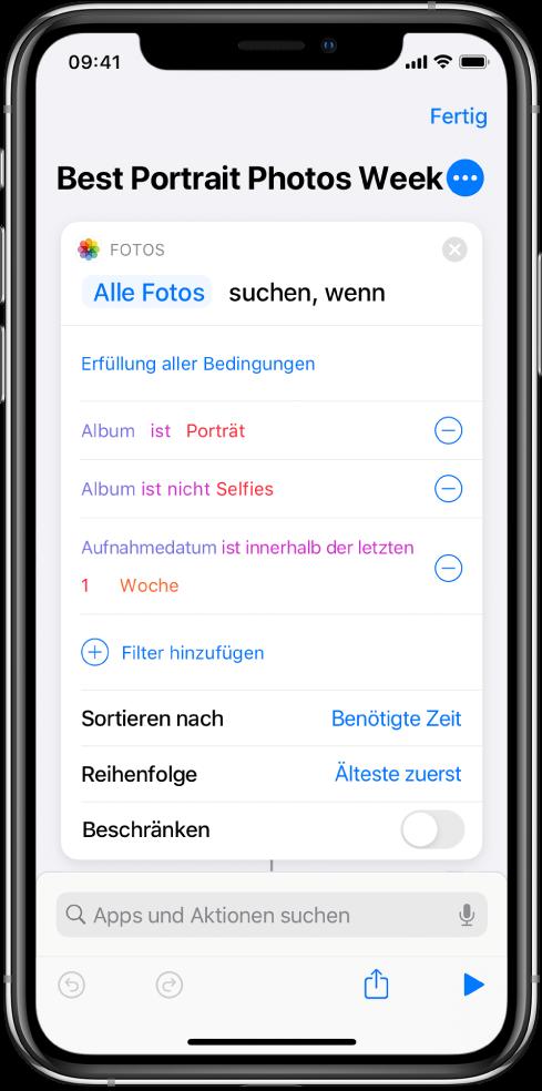 """Kurzbefehleditor mit der Aktion """"Fotos suchen mit""""."""