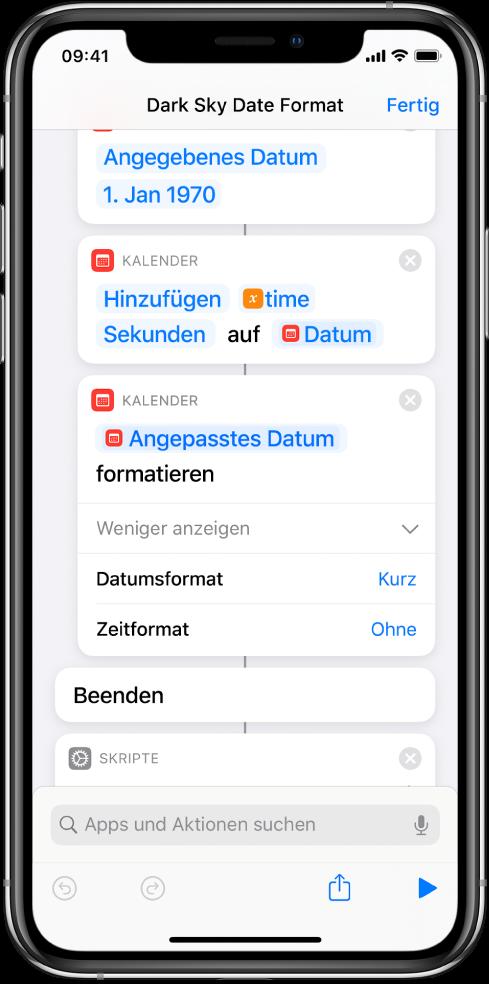 Ein Kurzbefehl mit Aktionen zum Umsetzen von Datums- und Zeitangaben aus dem UNIX-Format in ein für Menschen lesbares Datumsformat.