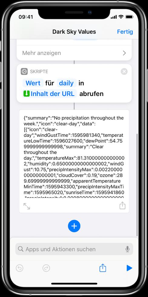 """Kurzbefehleditor mit der Aktion """"Wörterbuchwert abrufen"""" und dem auf """"daily"""" eingestellten Schlüssel."""