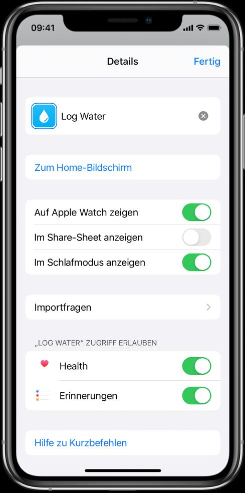 """Bildschirm """"Details"""" der App """"Kurzbefehle""""."""