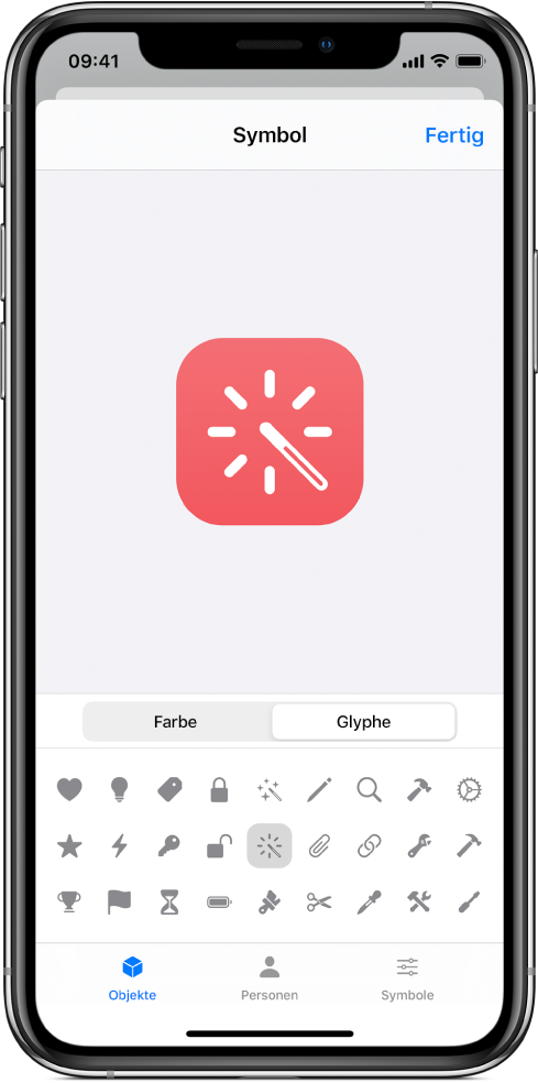 """Bildschirm """"Symbol"""" mit den Glyphenoptionen für den Kurzbefehl."""