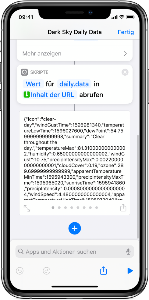 """Kurzbefehleditor mit der Aktion """"Wörterbuchwert abrufen"""" und dem auf """"data"""" eingestellten Schlüssel."""