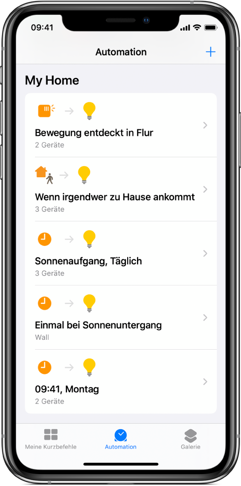 "Home-Automation in der App ""Kurzbefehle""."
