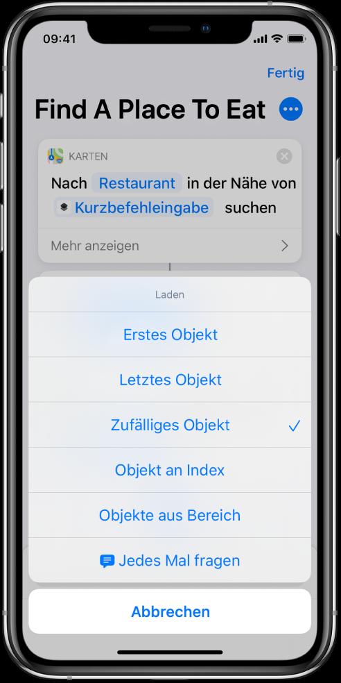 "Aktion ""Objekt aus Liste abrufen""."