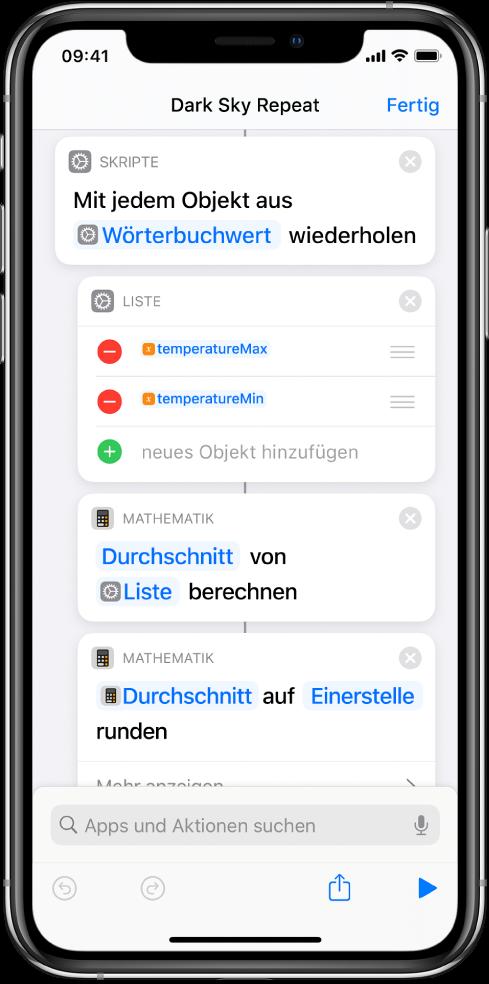 """Kurzbefehleditor mit den Aktionen """"Statistik berechnen"""" und """"Zahl runden""""."""