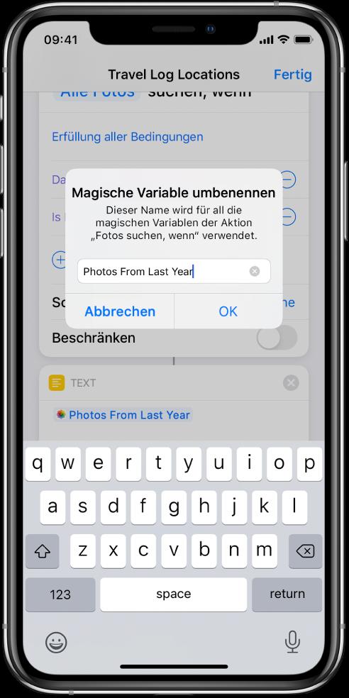"""Fenster """"Magische Variable umbenennen""""."""