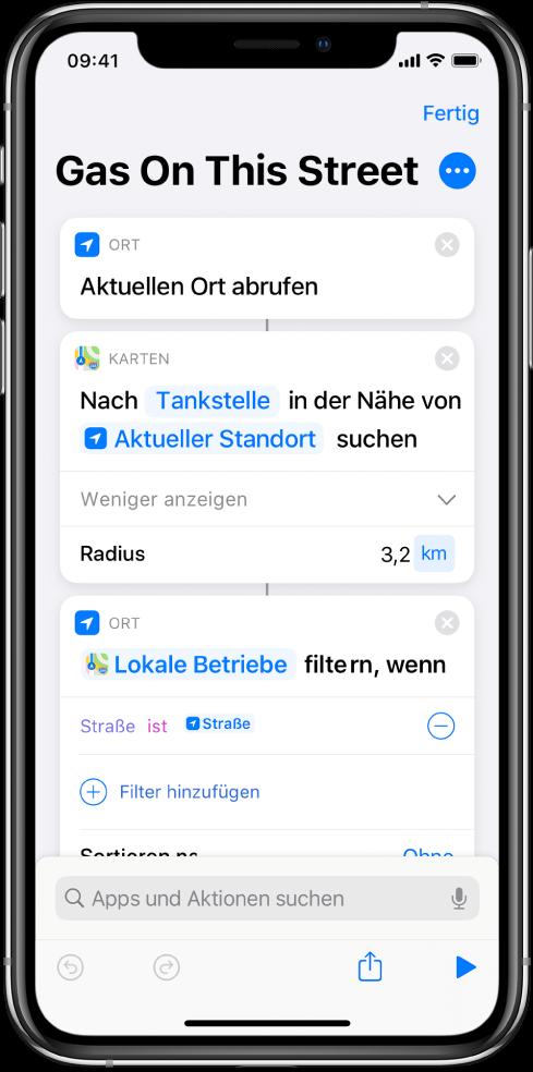 """Kurzbefehleditor mit der Aktion """"Orte filtern""""."""
