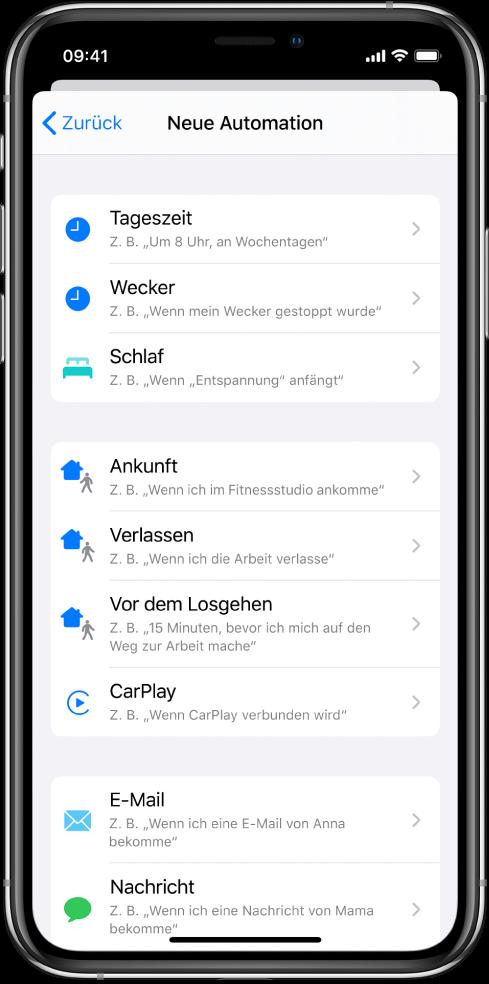 """Trigger für persönliche Automationen in der App """"Kurzbefehle""""."""