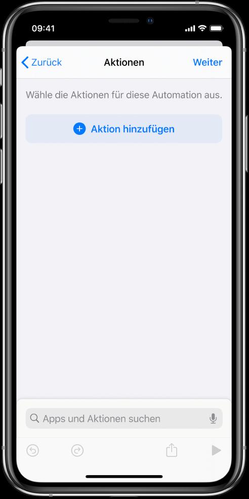 """Eine leere Automation im Automationseditor der App """"Kurzbefehle""""."""
