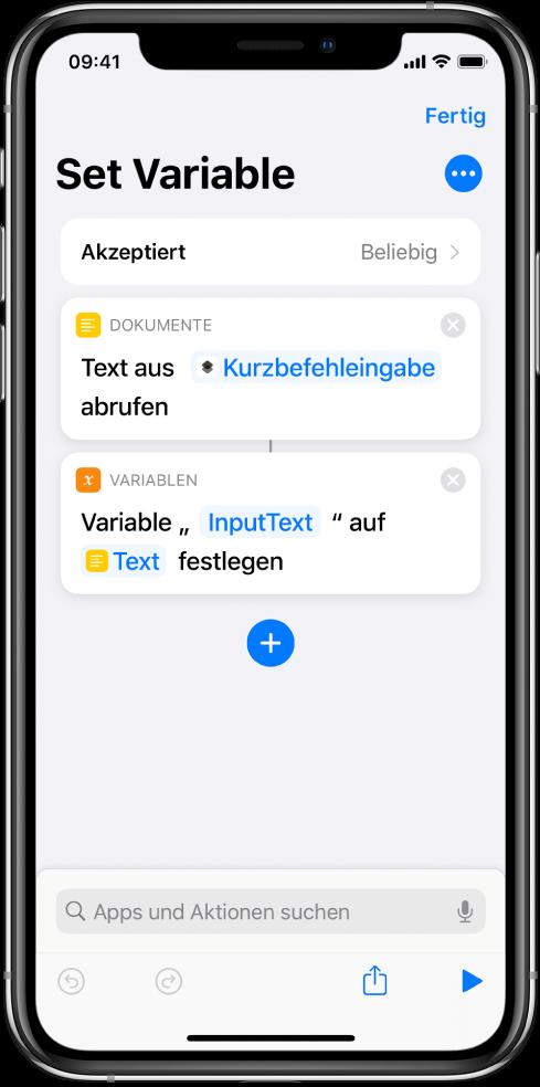 """Kurzbefehleditor mit Aktionen vom Typ """"Variable festlegen""""."""
