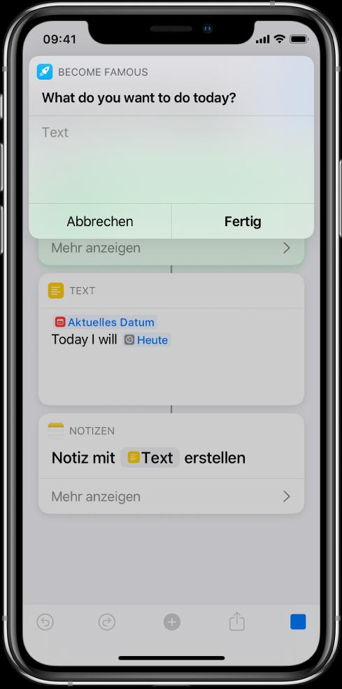 Ein Fenster mit der Aufforderung an den Benutzer, für die weitere Ausführung des Kurzbefehls Daten einzugeben.