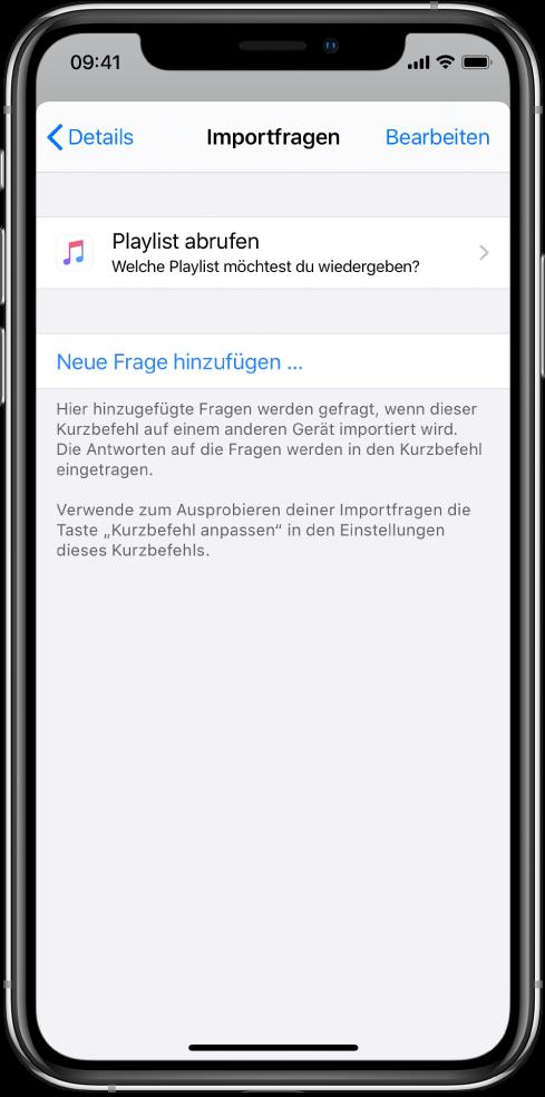 """Bildschirm """"Importfragen""""."""
