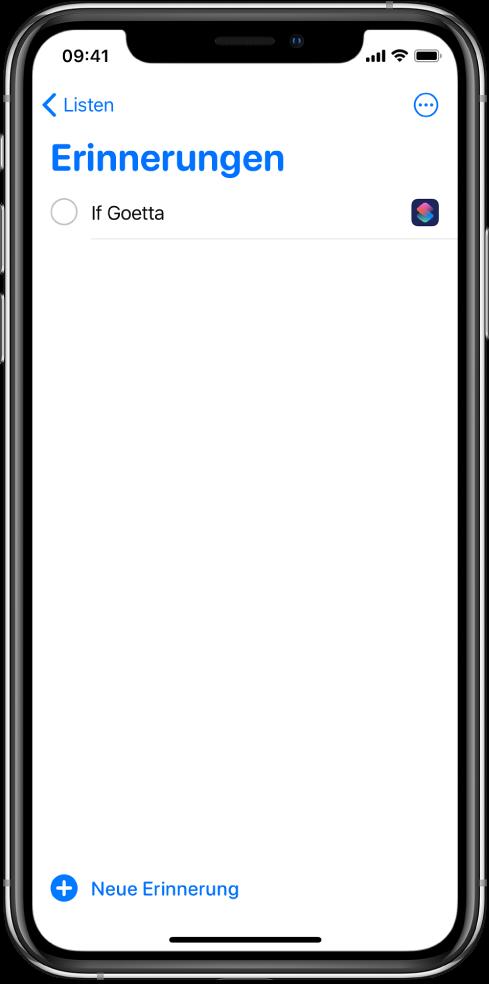 """Die App """"Erinnerungen"""" mit einer neuen Erinnerung für einen Kurzbefehl."""