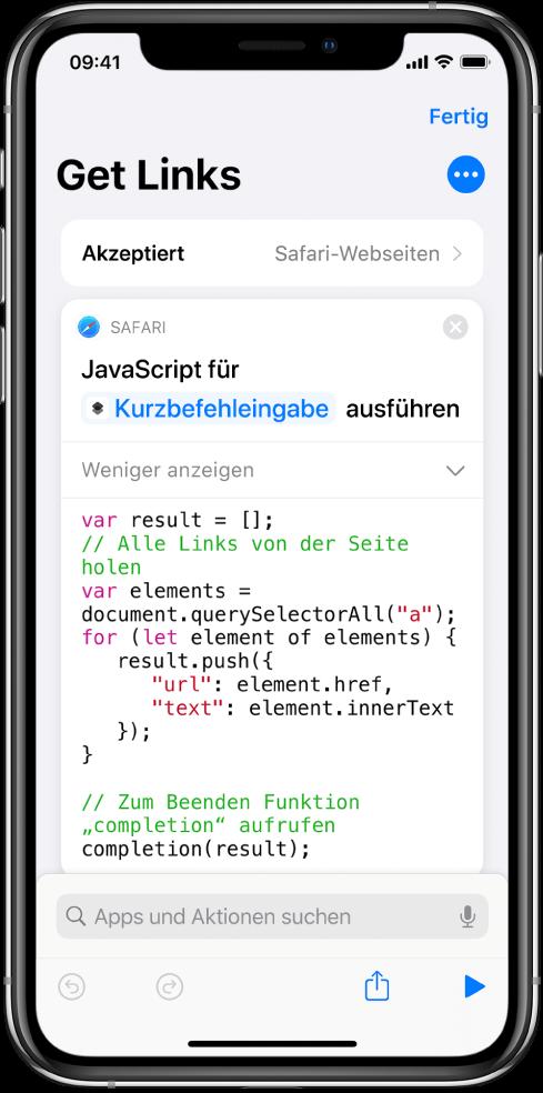 """Die Aktion """"JavaScript auf Webseite ausführen"""" im Kurzbefehleditor"""