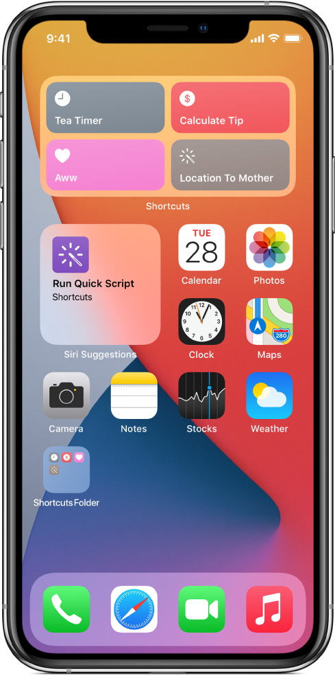 Shortcuts widget on the Home Screen.