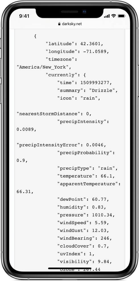 An example of JSON data.