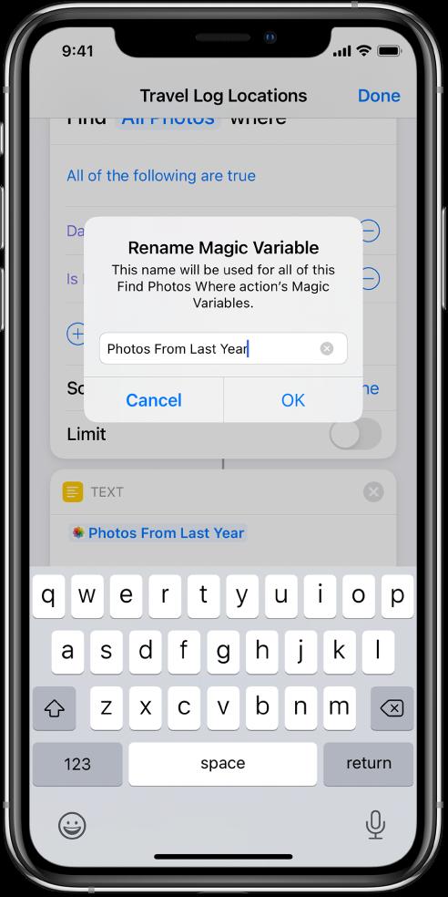 Rename Magic Variable dialog.