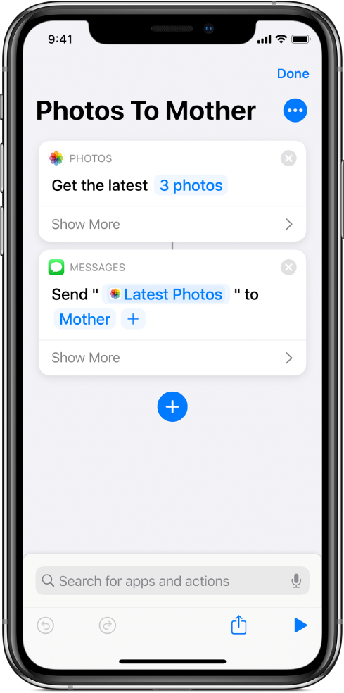 Shortcut containing a Get Latest Photos action and a Send Message action.