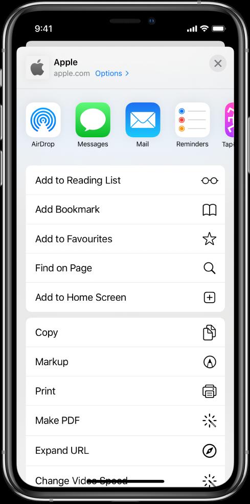 Shortcuts in Safari's share sheet.