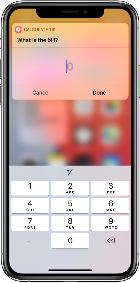 Number pad in the Shortcuts widget.