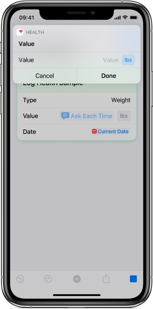 Ask Each Time variable pausing the shortcut to request manually entered data.