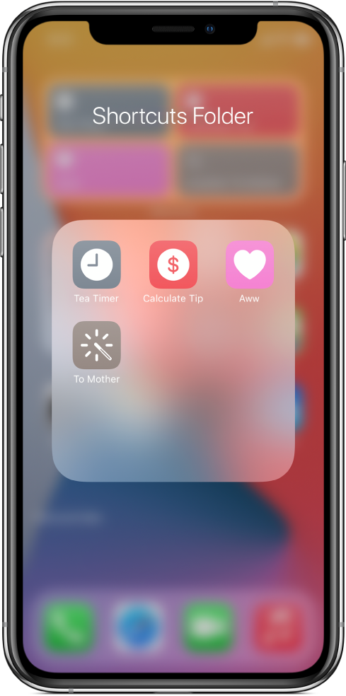 Shortcuts grouped into a folder on the Home Screen.
