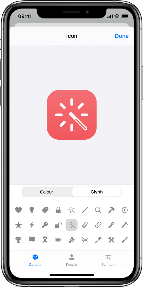 Icon screen showing shortcut glyph options.