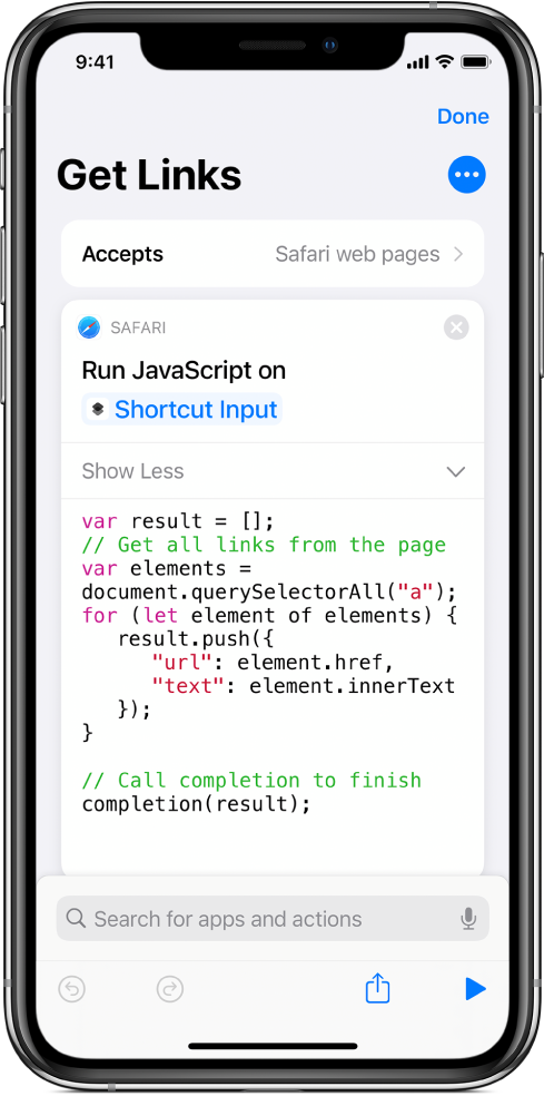 The Run JavaScript on Webpage action in the shortcut editor.