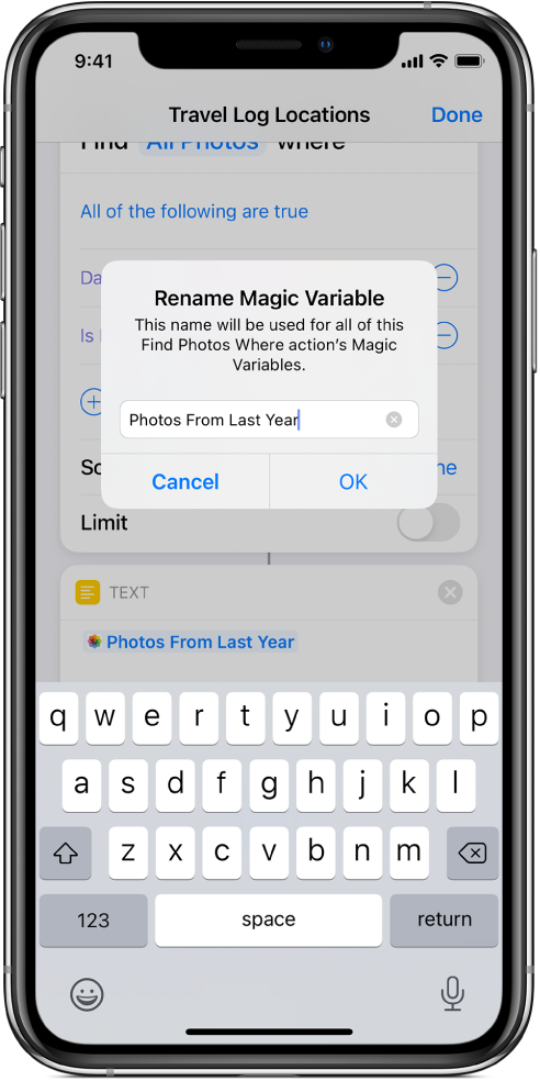 Rename Magic Variable dialog.