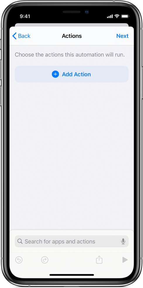 An empty automation in the automation editor of the Shortcuts app.