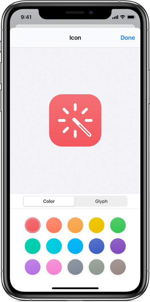 Icon screen showing shortcut color options.