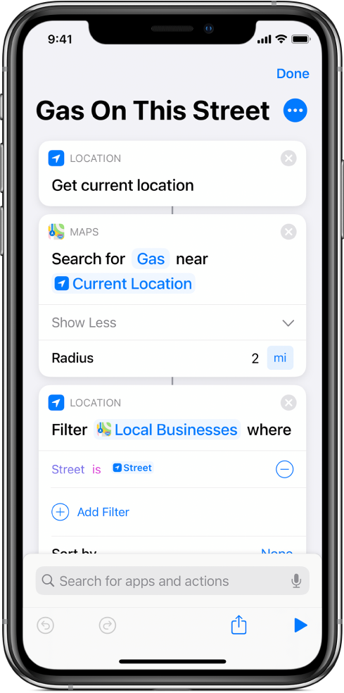 Filter Locations Where action in shortcut editor.