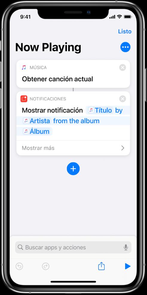 """La acción """"Mostrar notificación"""" en el editor de atajos y la alerta """"Ahora suena de Música"""", invocada por la acción """"Mostrar notificación"""""""
