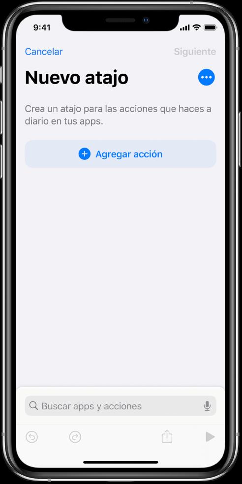 El editor de atajos vacío en un iPhone