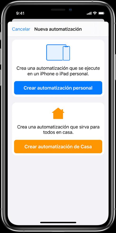 Nueva automatización cuando ya existe una automatización en la appAtajos.