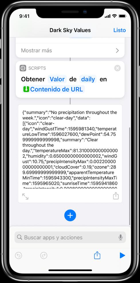 """La acción """"Obtener valor de diccionario"""" en el editor de atajos con la clave """"diariamente"""" seleccionada"""