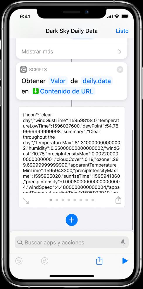 """La acción """"Obtener valor del diccionario"""" en el editor de atajos con la clave """"datos"""" seleccionada"""