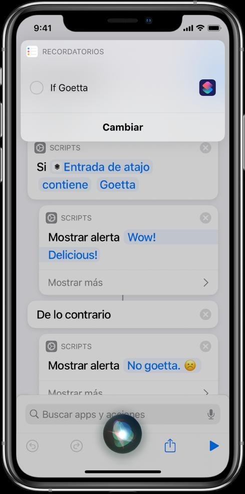La pantalla de Siri mostrando la adición de un atajo a los recordatorios