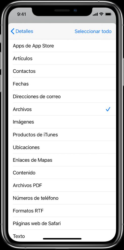 """La lista de entradas de """"Hoja de compartir"""" mostrando los tipos de contenido disponibles para un atajo cuando se ejecuta desde otra app."""