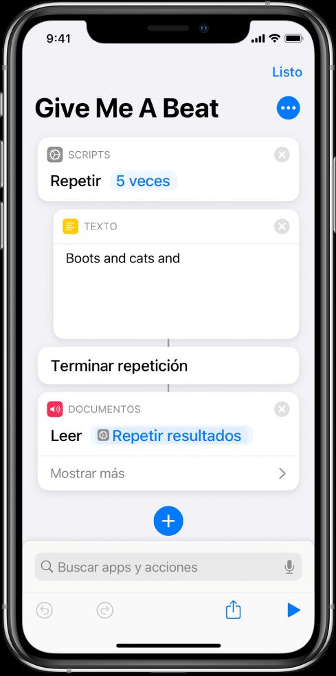 La acción Texto en una acción Repetir configurada para repetirse 5 veces.